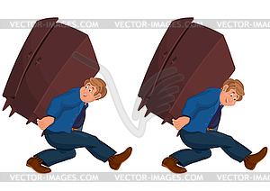 Glücklich Cartoon-Mann, der mit schweren Möbeln - Vector Clip Art