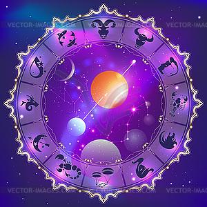 Horoskop-Kreis - farbige Vektorgrafik