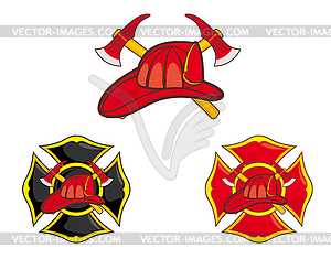 Feuerwehrleute Symbole - vektorisierte Grafik
