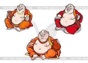 Asiatische Mönche im Cartoon-Stil Set - Stock Vektor-Bild