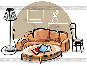 Interieur mit Sofa - Vector-Clipart EPS