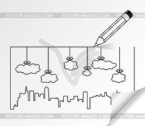 Bleistiftzeichnung Stadt Konturen von Gebäuden und - vektorisiertes Bild