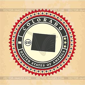 Vintage-Label-Aufkleber Karten von Colorado - Stock-Clipart