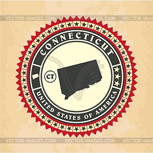 Vintage-Label-Aufkleber Karten von Connecticut - Vector-Design