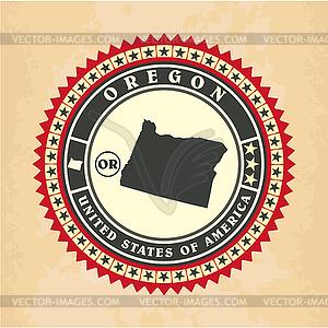 Vintage-Label-Aufkleber Karten von Oregon - Vector Clip Art
