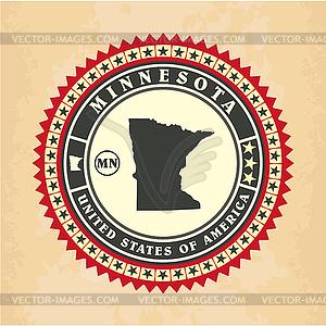 Vintage-Label-Aufkleber Karten von Minnesota - Vector-Clipart
