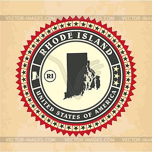 Vintage-Label-Aufkleber Karten von Rhode Island - Vector-Design