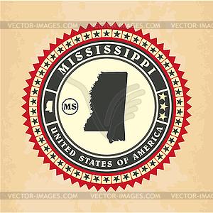 Vintage-Label-Aufkleber Karten von Mississippi - Vector-Clipart / Vektor-Bild