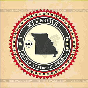 Vintage-Label-Aufkleber Karten von Missouri - Vector-Illustration
