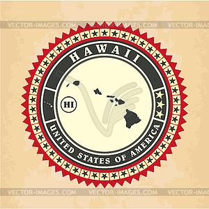 Vintage-Label-Aufkleber Karten von Hawaii - vektorisiertes Clipart