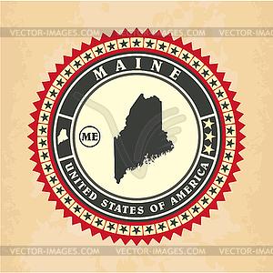 Vintage-Label-Aufkleber Karten von Maine - Clipart-Design