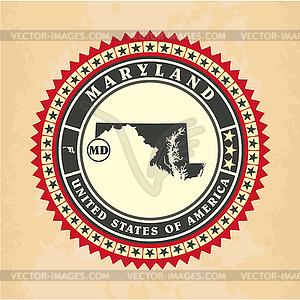 Vintage-Label-Aufkleber Karten von Maryland - Stock-Clipart