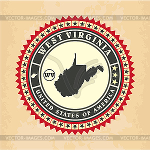 Vintage-Label-Aufkleber Karten von West Virginia - Vector-Clipart