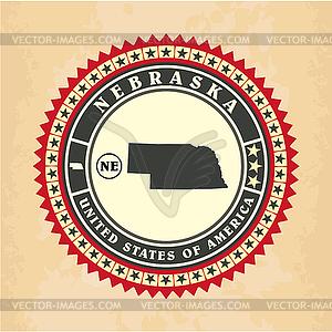 Vintage-Label-Aufkleber Karten von Nebraska - Vector-Design