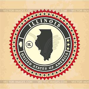 Vintage-Label-Aufkleber Karten von Illinois - Vector-Clipart / Vektor-Bild