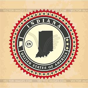 Vintage-Label-Aufkleber Karten von Indiana - Vector-Illustration