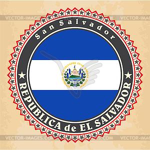 Vintage-Label-Karten von El Salvador Flagge - Vector Clip Art