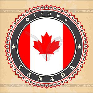 Vintage-Label-Karten von Kanada-Flagge - Vektor-Clipart EPS
