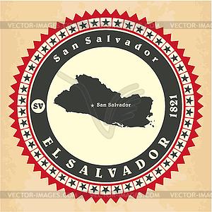 Vintage-Label-Aufkleber Karten von El Salvador - Vector-Clipart EPS