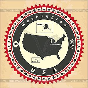 Vintage-Label-Aufkleber Karten der Vereinigten Staaten von - Vektorgrafik-Design