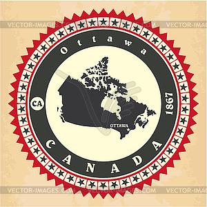 Vintage-Label-Aufkleber-Karten von Kanada - Vektorabbildung
