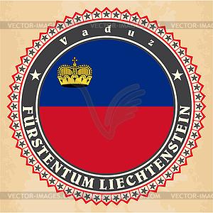 Vintage-Label-Karten von Liechtenstein Flagge - Vector-Clipart / Vektorgrafik