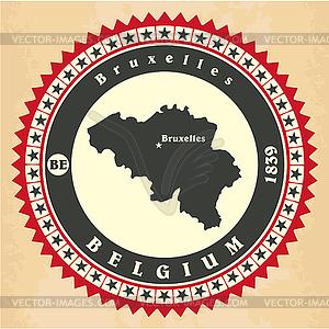 Vintage-Label-Aufkleber Karten Belgien - Stock Vektor-Clipart