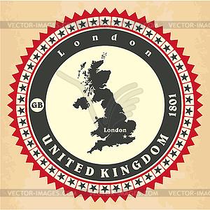 Vintage-Label-Aufkleber Karten des Vereinigten Königreichs - vektorisiertes Clip-Art