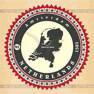Vintage-Label-Aufkleber Karten der Niederlande - Stock Vektorgrafik