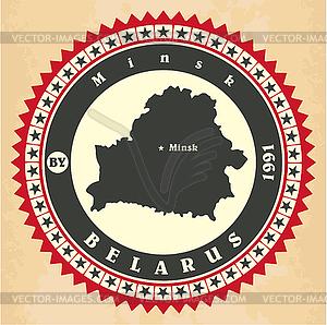 Vintage-Label-Aufkleber Karten von Belarus - Vector-Clipart / Vektorgrafik