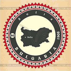 Vintage-Label-Aufkleber Karten Bulgarien - Vektor-Clipart / Vektor-Bild