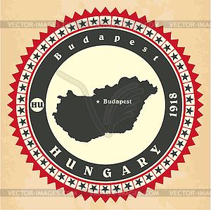 Vintage-Label-Aufkleber Karten von Ungarn - Vektorgrafik-Design