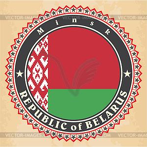 Vintage-Label-Karten von Belarus Flagge - Vector-Bild