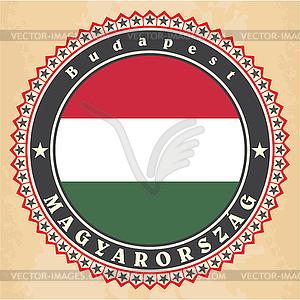 Vintage-Label-Karten von Ungarn Flagge - Vektorgrafik