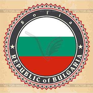 Vintage-Label-Karten von Bulgarien Flagge - Vector-Clipart EPS