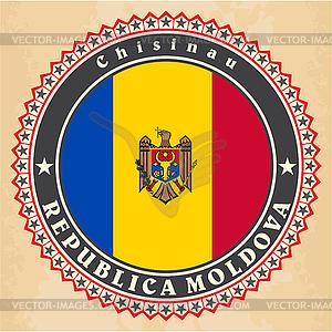 Vintage-Label-Karten Moldau Flagge - Vektorabbildung