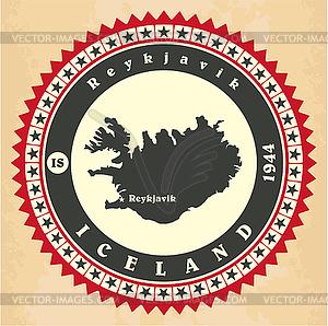 Vintage-Label-Aufkleber Karten von Island - vektorisiertes Clip-Art