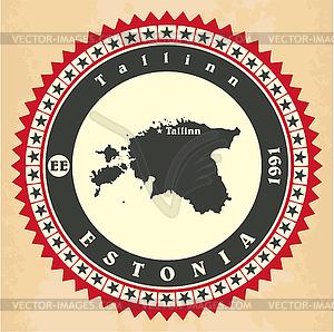 Vintage-Label-Aufkleber Karten Estland - Stock Vektorgrafik