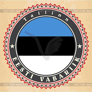 Vintage-Label-Karten von Estland-Flagge - Vektor-Illustration