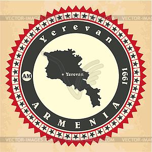 Vintage-Label-Aufkleber Karten von Armenien - Vektor-Illustration