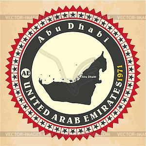 Vintage-Label-Aufkleber Karten der Vereinigten Arabischen Emirate - Vektorgrafik-Design