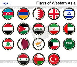 Flaggen der westlichen Asien. Flaggen - vektorisiertes Design