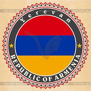 Vintage-Label-Karten von Armenien-Flagge - Clipart-Bild