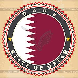 Vintage-Label-Karten Flagge von Katar - Vector-Clipart EPS