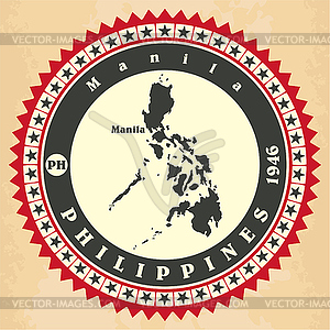 Vintage-Label-Aufkleber Karten der Philippinen - Vector-Abbildung