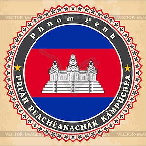 Vintage-Label-Karten Flagge von Kambodscha - Clipart