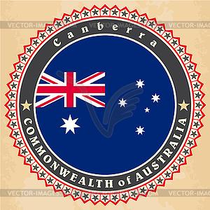 Vintage-Label-Karten von Australien Flagge - Vector-Clipart EPS