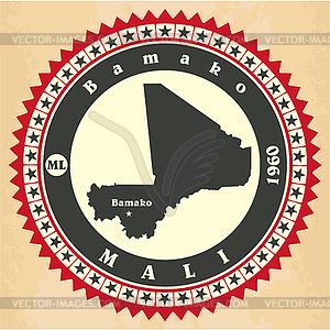 Vintage-Label-Aufkleber Karten von Mali - Vector-Bild