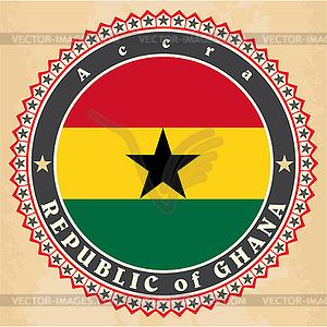 Vintage-Label-Karten von Ghana-Flagge - Vector-Abbildung