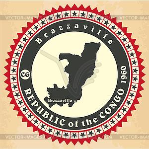 Vintage-Label-Aufkleber Karten der Republik Kongo - Vektor-Clipart / Vektor-Bild